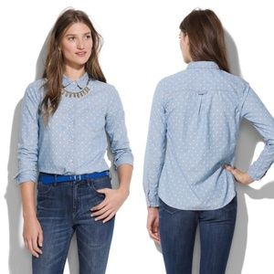 Madewell Chambray Polka Dot Button Down Shirt XS